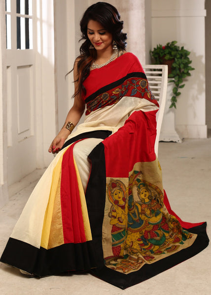 Saree - Chanderi Saree With Hand Painted Kalamkari Pallu And Border In Front