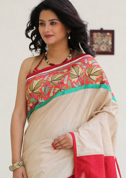 Saree - Chequered Kosa Silk With Kashmiri Hand Embroidery With Red Cotton Silk Pallu & Green Chanderi