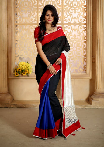 Combination of black & blue chanderi with white cotton silk pallu with net work