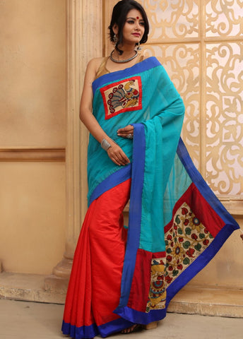 Combination of blue and red chanderi with hand painted kalamkari patch in front & pallu