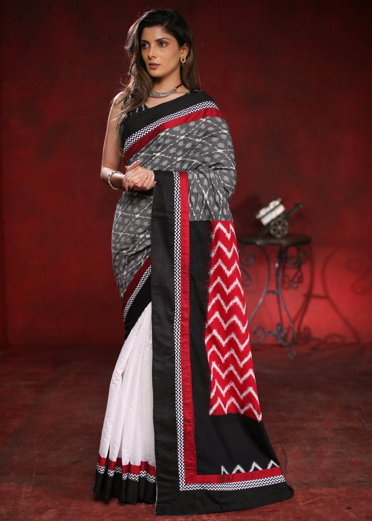 Saree - Combination Of Grey And Pink Cotton Ikat Work Saree With White Chanderi Pleats
