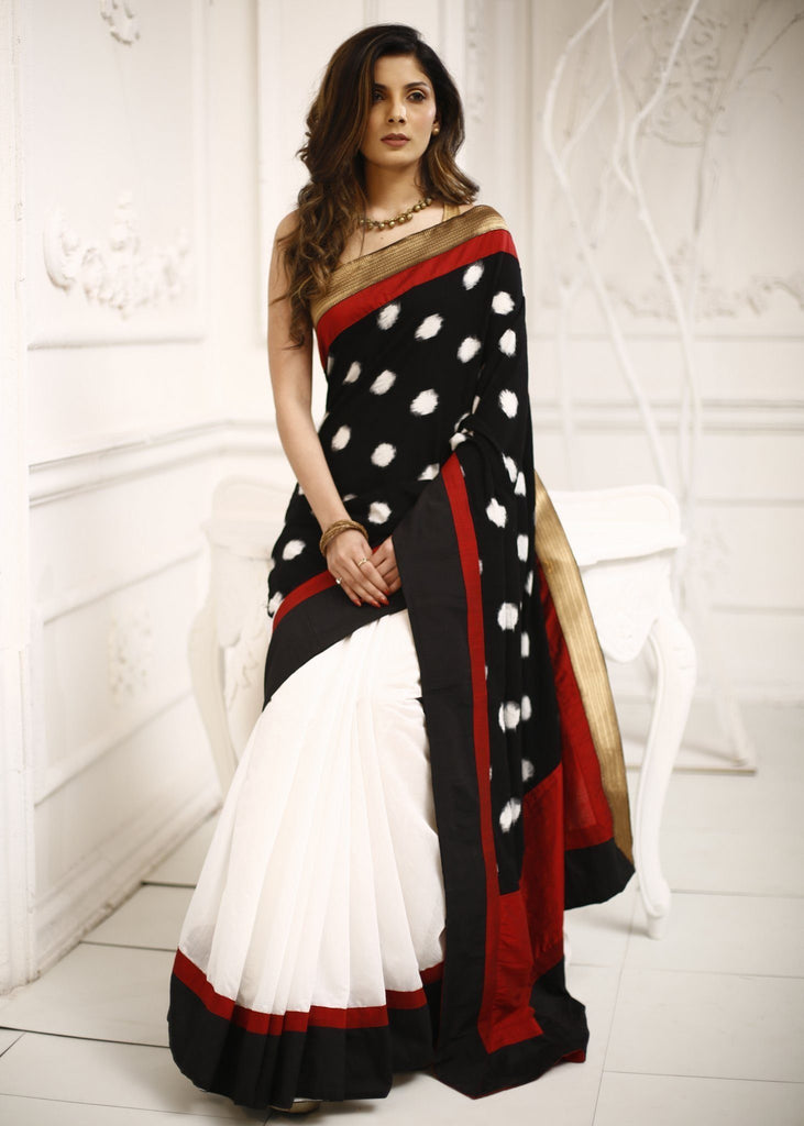 Saree - Combination Of Ikat & White Chanderi Saree With Zari Border