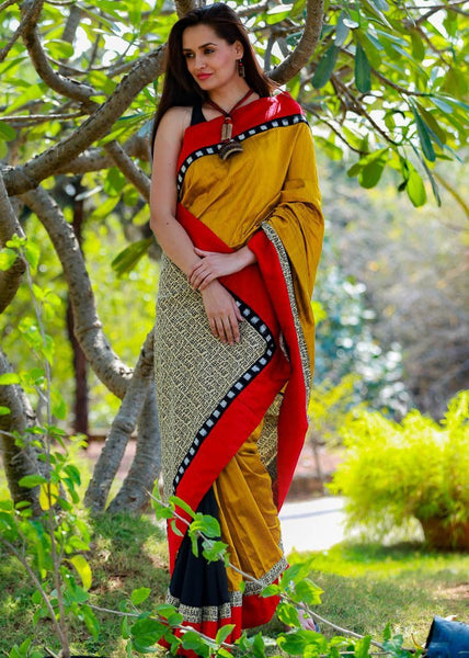 Combination of Mustard Cotton Silk & Black chanderi with mantra print pallu & red border - Sujatra