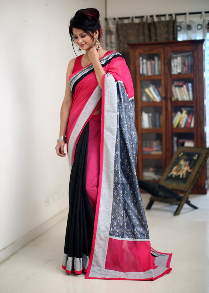 Saree - Combination Of Pink & Black Chanderi With Pure Silk Printed Pallu