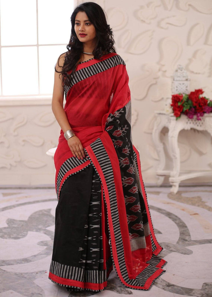 Saree - Combination Of Red & Black Chanderi Saree With Double Ikat Pallu & Ikat Patch In Pleats