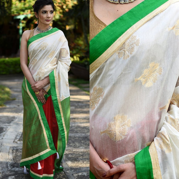 Saree - Combination Of Red, White & Green Chanderi Saree With Benarasi Work