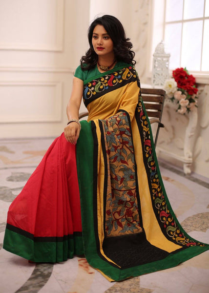 Saree - Combination Of Red & Yellow Chanderi With Hand Painted Kalamkari Border & Patch On Pallu