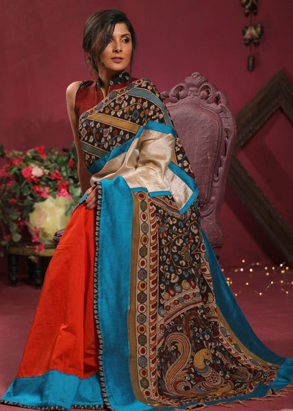Saree - Combination Of Tussar Silk And Chanderi Pleats Saree With Hand Painted Kalamkari Pallu