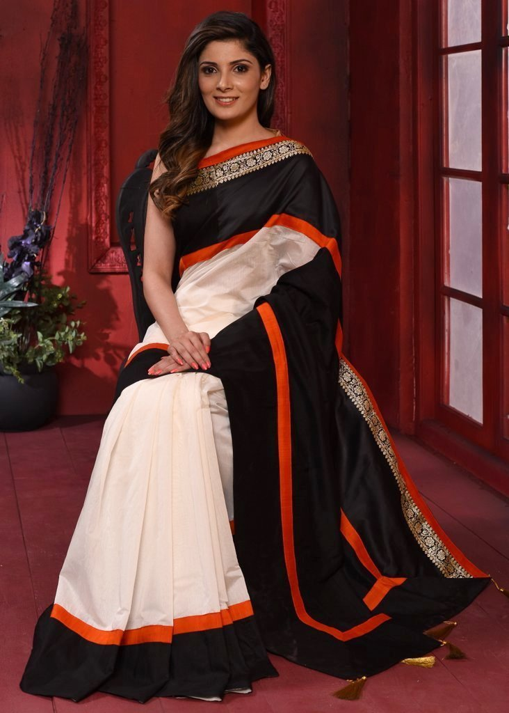 Saree - Combination Of White & Black Saree With Benarasi Border