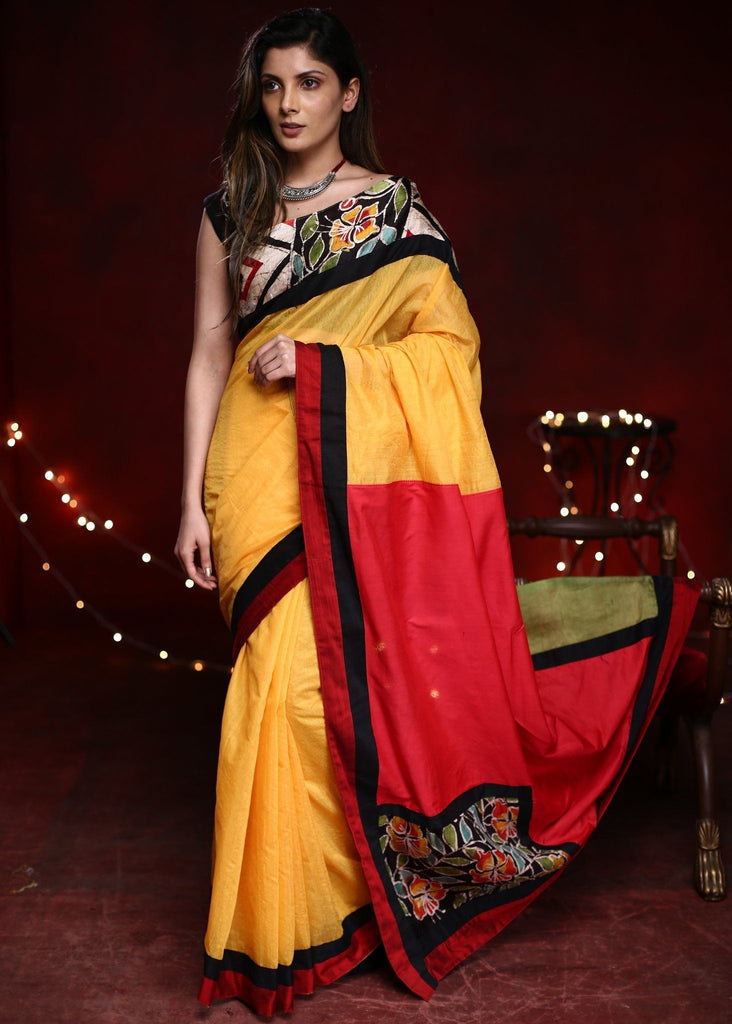 Saree - Combination Of Yellow & Red Chanderi Saree With Hand Batik Work In Front & Pallu