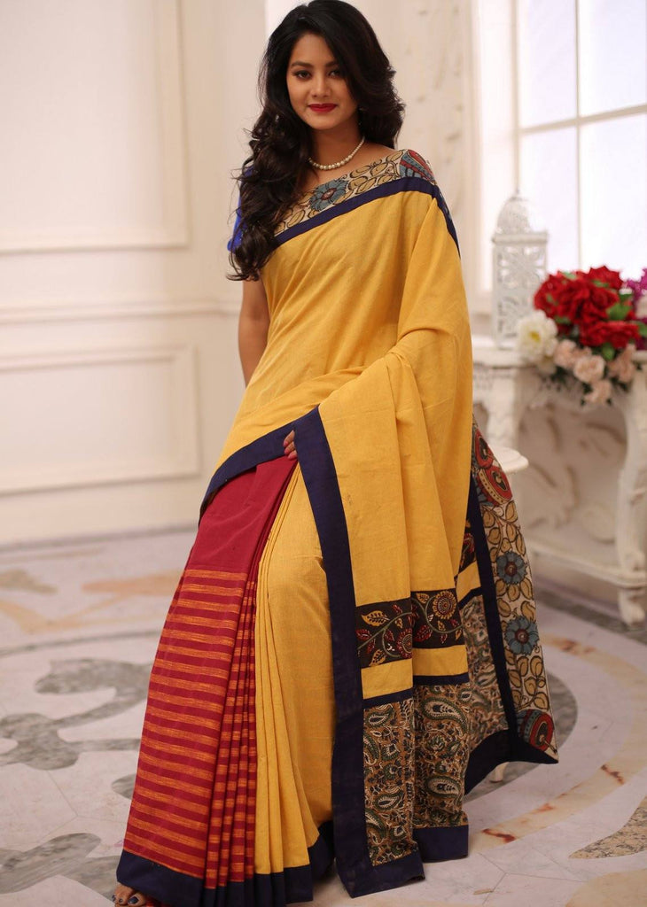 Saree - Combination Of Yellow & Striped Red Handloom Cotton With Hand Painted Kalamkari Border