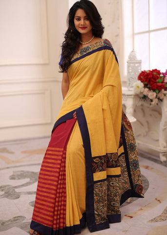 Combination of yellow & striped red handloom cotton with hand painted kalamkari border