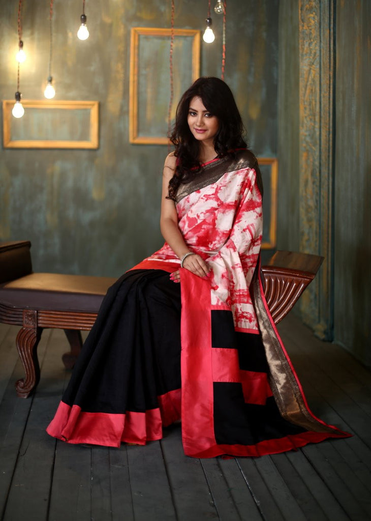 Saree - Cotton Saree With Abstract Prints And Black Chanderi Pleats