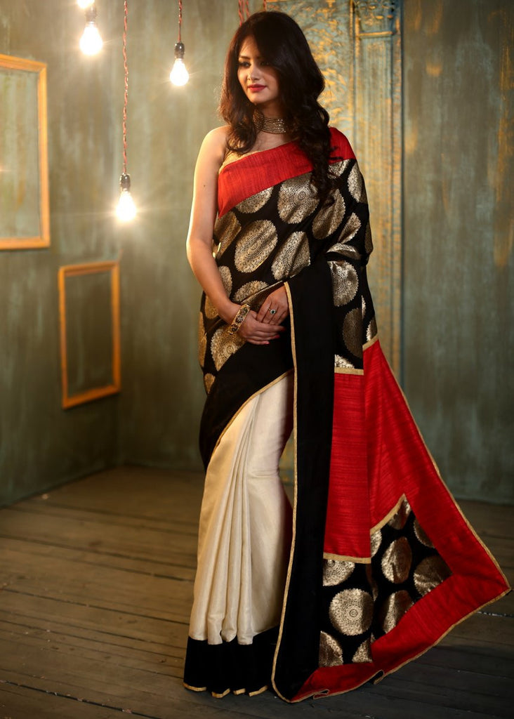 Saree - Designer Benarasi Work Saree With Cotton Silk Pleats & Pallu