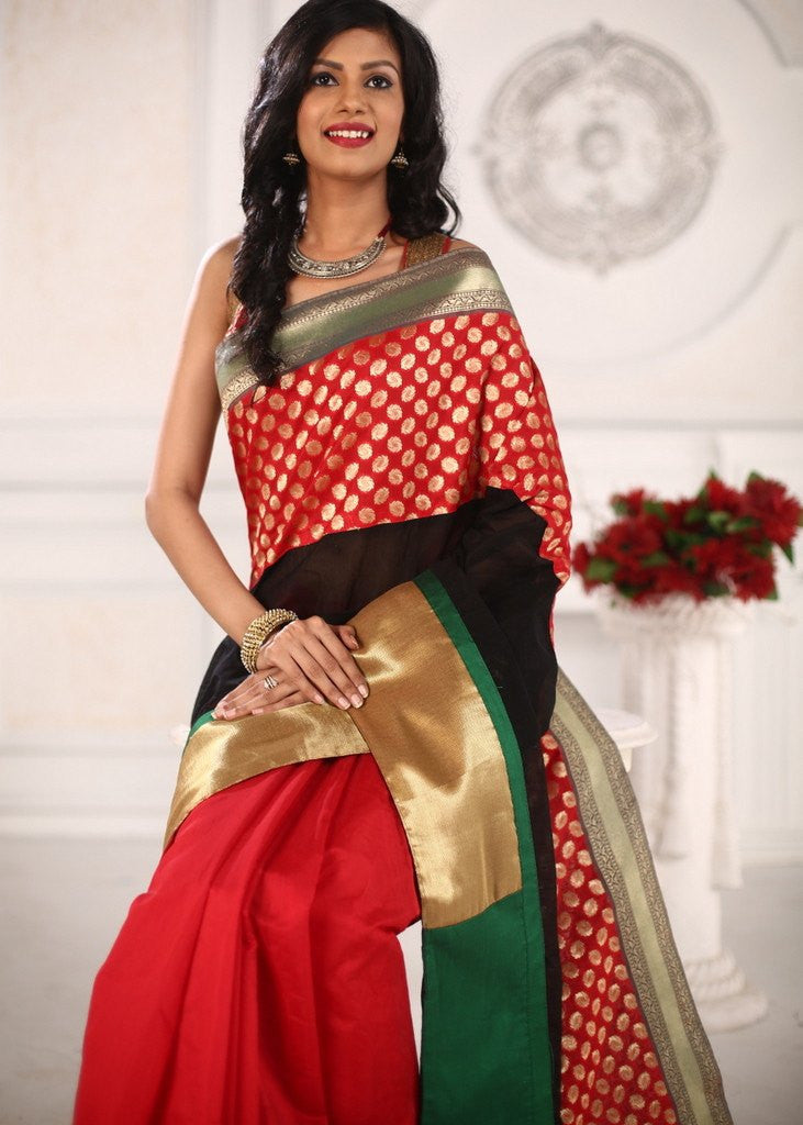 Saree - Designer Red & Black Chanderi Saree With Unique Benarasi Border