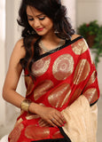 Saree - Designer Saree With Banarasi Work In Front Combined With Pure Tassar Pallu & Black Cotton Silk Pleats