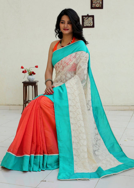 Saree - Elegant Lace And Orange Chanderi Combination Saree With Green Border