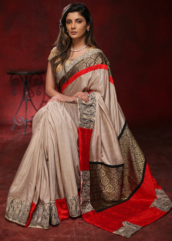 Elegant Madhubani designed beige cotton silk saree with zari patch on pallu & border