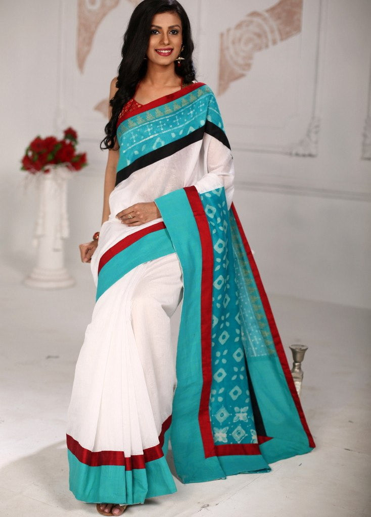 Elegant white chanderi saree with unique printed cotton pallu and border - Sujatra