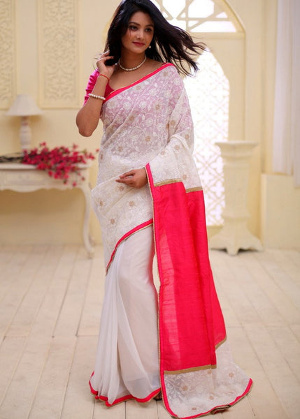 Saree - Embroidered Georgete With Pure Pint Raw Silk And White Georgette Pleats