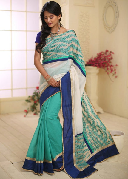 Saree - Embroidered Kota Border With Chanderi