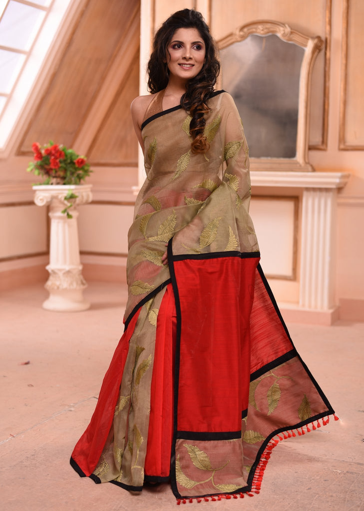 Saree - Embroidered Organza Saree With Red Cotton Silk Combination