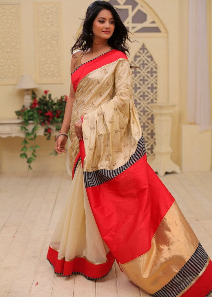 Saree - Embroidered Soft Silk With Beige Chanderi Pleats