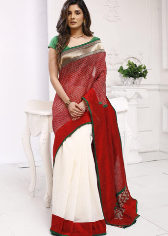 Exclclusive printed chanderi with zari border & white chanderi combination saree