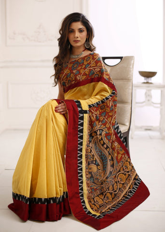 Exclsuive Hand painted kalamakari saree with yellow chanderi combination