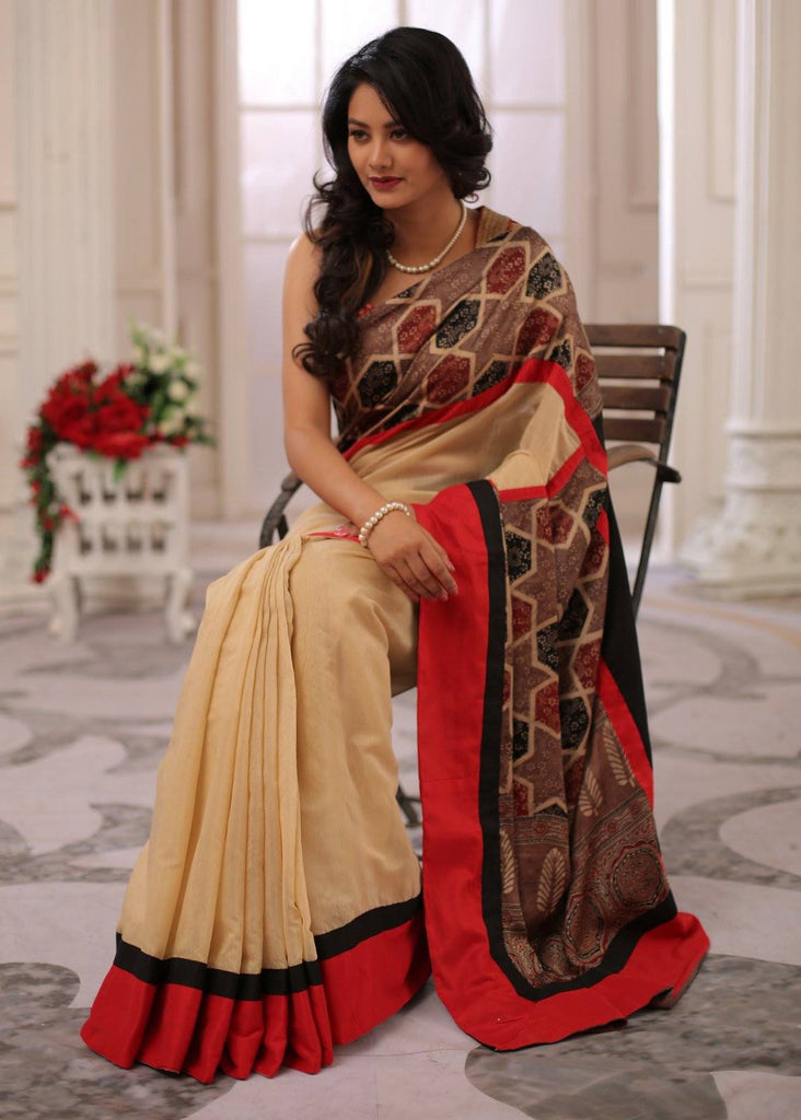 Saree - Exclusive Ajrakh Block Printed Silk Pallu & Border With Beige Chanderi Combination Saree