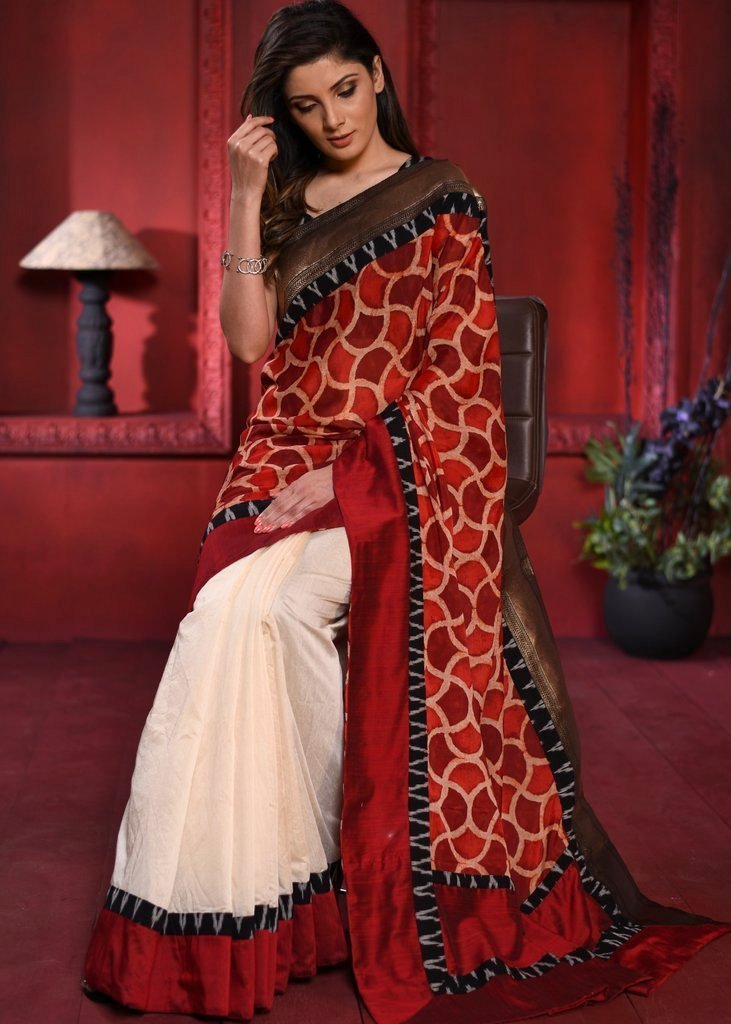 Saree - Exclusive Ajrakh & Off White Chanderi Pleats Combination Saree With Zari Border