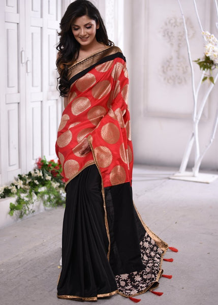 Saree - Exclusive Benarasi Work On Satin Silk With Black Crepe Pleats & Intricate Zari Border