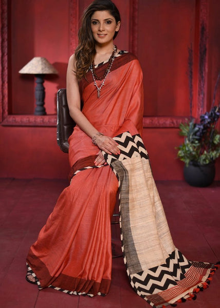 Saree - Exclusive Bhagalpur Silk Saree With Ghicha Silk Pallu