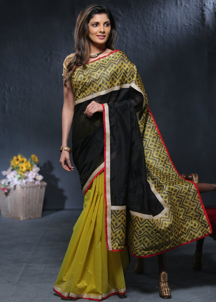 Saree - Exclusive Black & Yellow Chanderi Combination With Printed Border