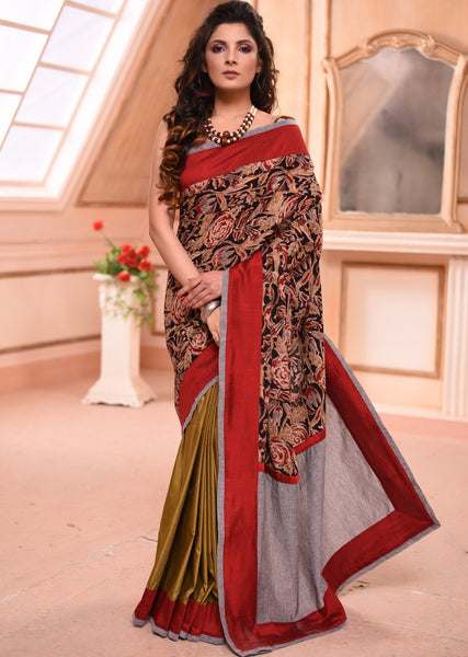 Saree - Exclusive Block Printed Kalamkari Saree & Mehndi Green Semi Silk Combination Pleats