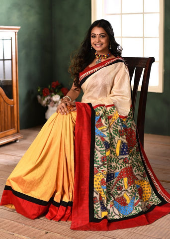 Exclusive combination of tussar silk & hand painted madhubani pallu with yellow cotton silk pleats saree