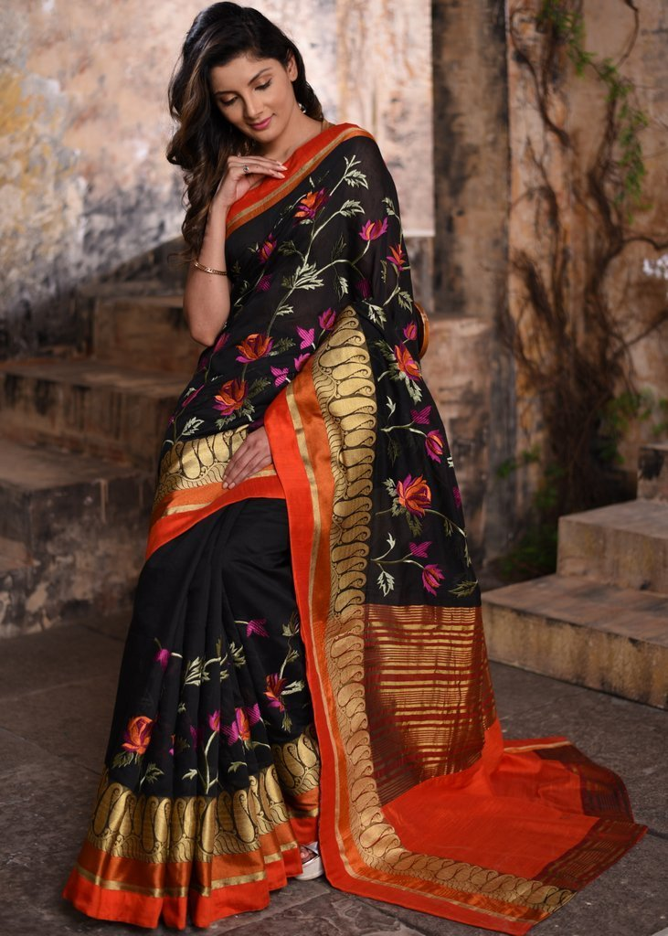 Saree - Exclusive Embroidered Black Chanderi Saree