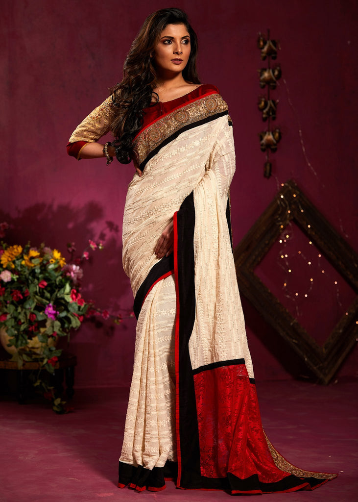 Saree - Exclusive Embroidered Chikan Work Cotton Saree With Heavy Zari Border