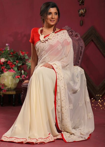 Saree - Exclusive Embroidered Off White Georgette Saree With Zari Border