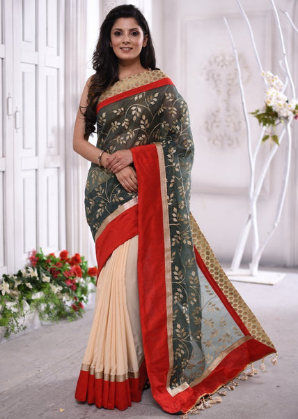 Saree - Exclusive Embroidered Organza And Chanderi Combination Saree With Benarasi Border