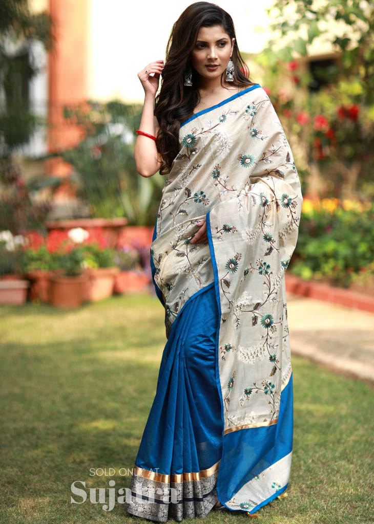 Saree - Exclusive Embroidered Saree With Chanderi Pleats With Zari Border