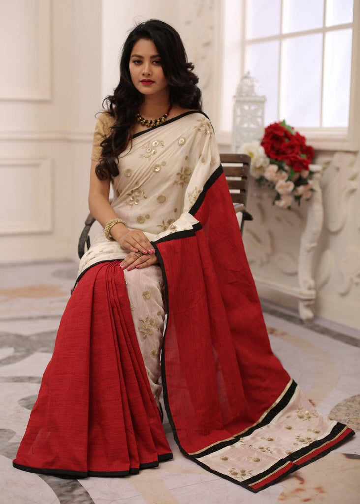 Saree - Exclusive Embroidered Shiffon With Maroon Cotton Silk Combination Saree