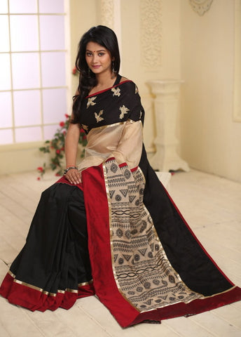 Exclusive embroidery & beige chanderi combination with woven pallu