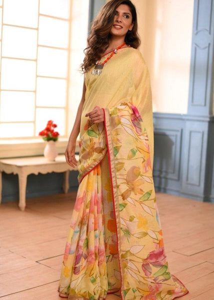 Saree - Exclusive Floral Printed Linen Cotton Mix Saree