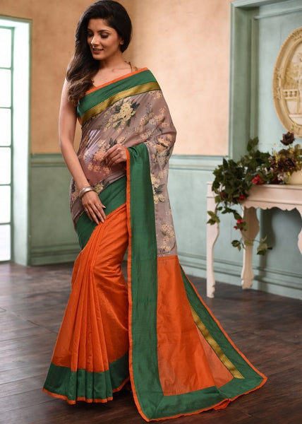 Saree - Exclusive Floral Printed Organza & Orange Chanderi Combination Saree With Maharashtrian Zari Border