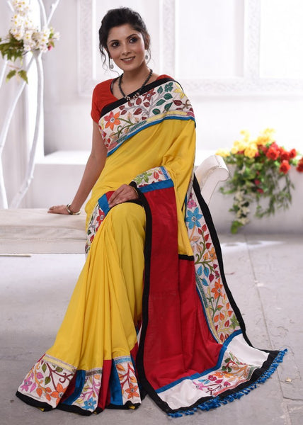 Saree - Exclusive French Crepe Designer Saree With Kantha Work Border