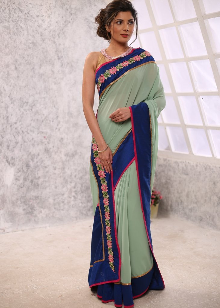 Saree - Exclusive Georgette Saree With Embroidered Border