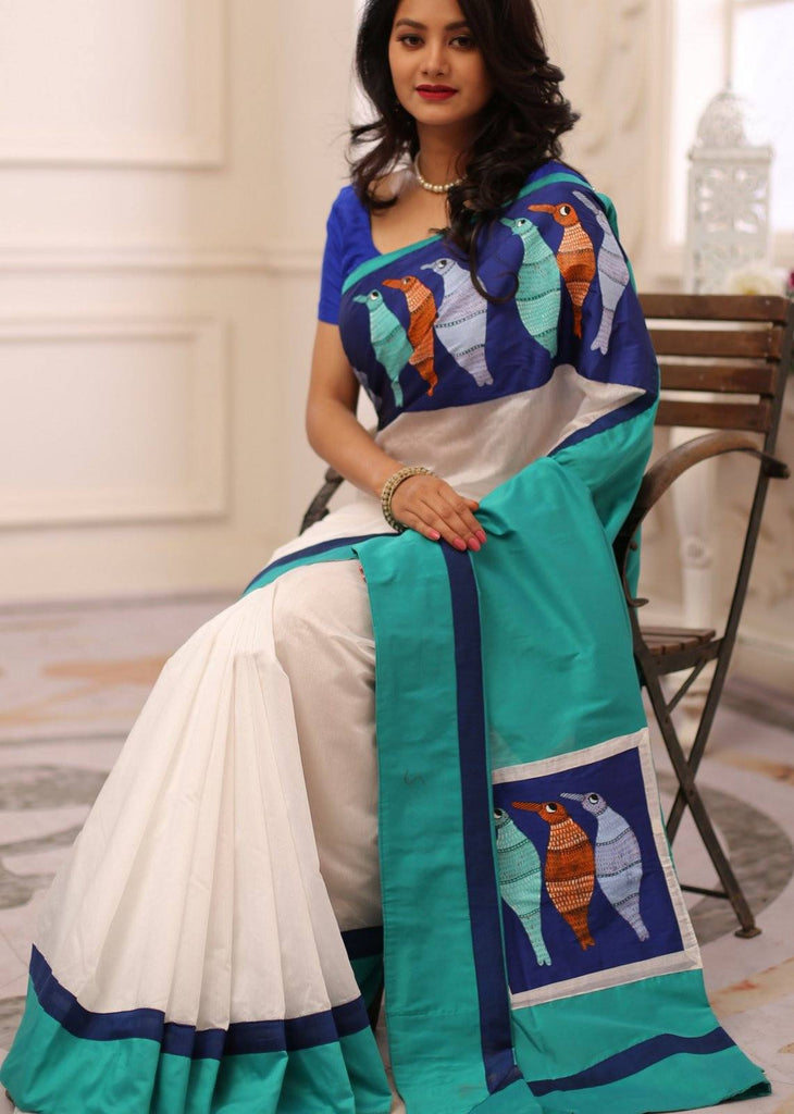 Saree - Exclusive Gond Tribal Art Painting In Front & Pallu With White Chanderi Saree & Blue Cotton Silk Pallu