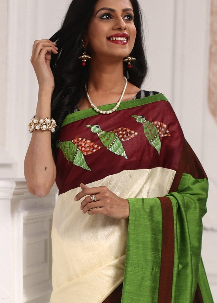 Exclusive gond tribal art with pure off white raw silk combination saree - Sujatra