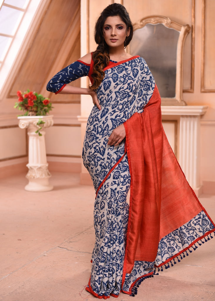 Saree - Exclusive Hand Block Printed Indigo Saree With Pure Silk Pallu